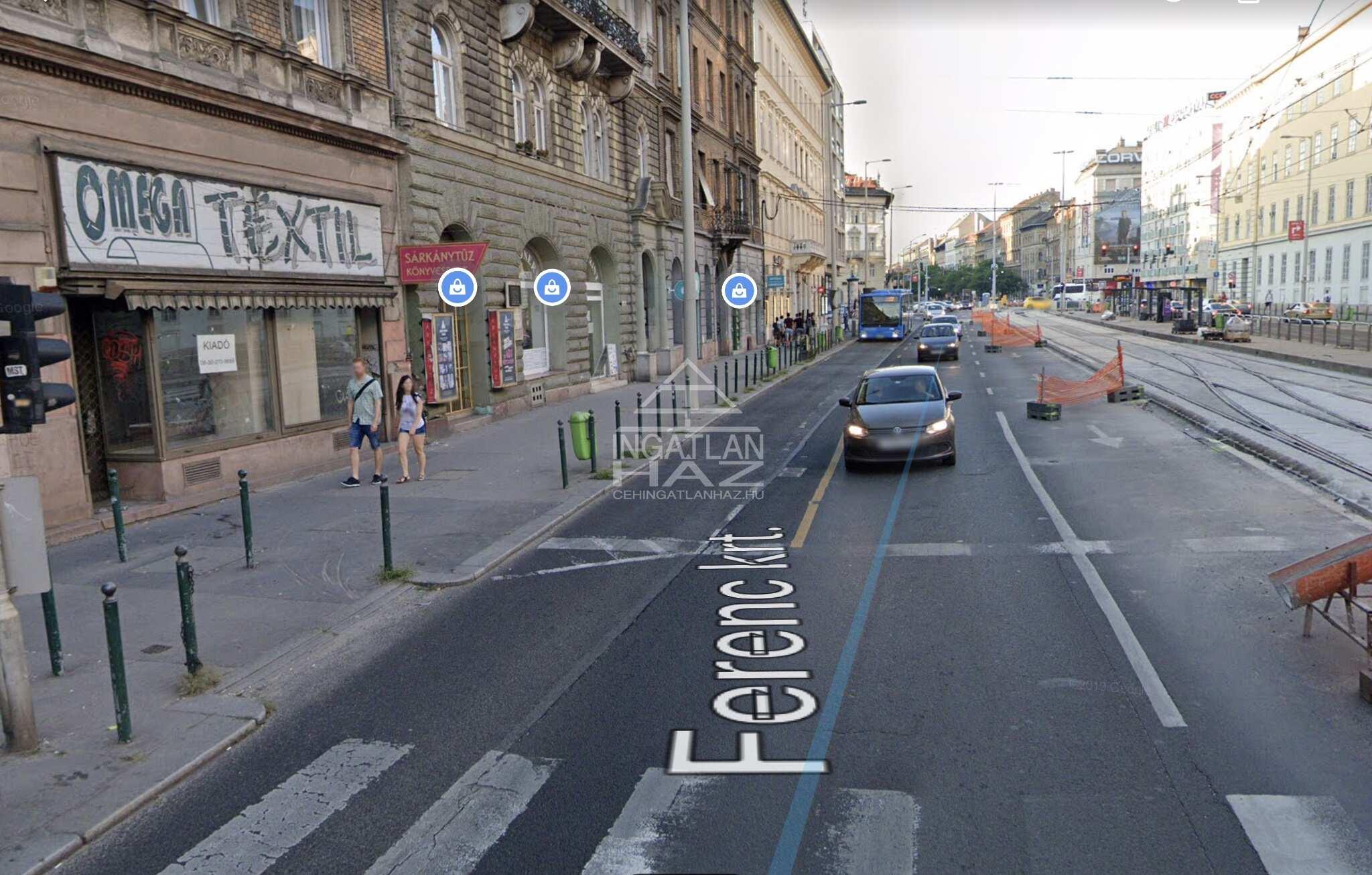 IX.ker. Ferenc krt. 80m2,, utcai, kirakatos, 2 utcai bejárattal rendelkező üzlethelyiség eladó